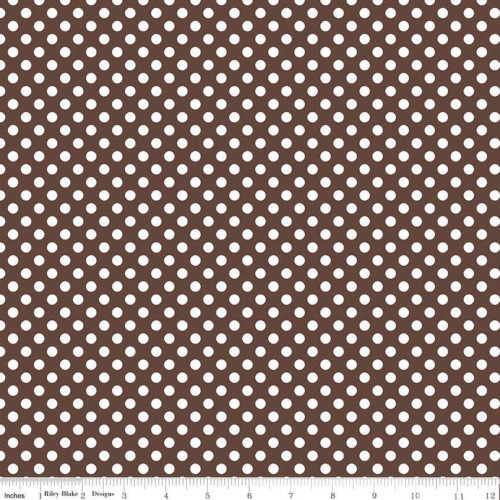 BROWN AND WHITE SMALL DOT FABRIC - C350-90 Brown