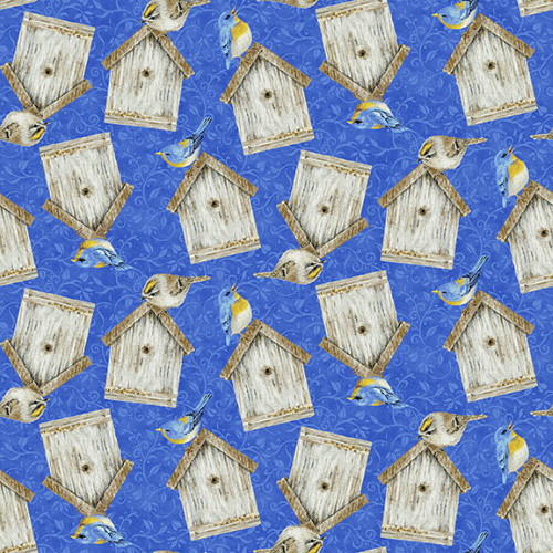 BIRDHOUSES ON BLUE FABRIC - 1764-77