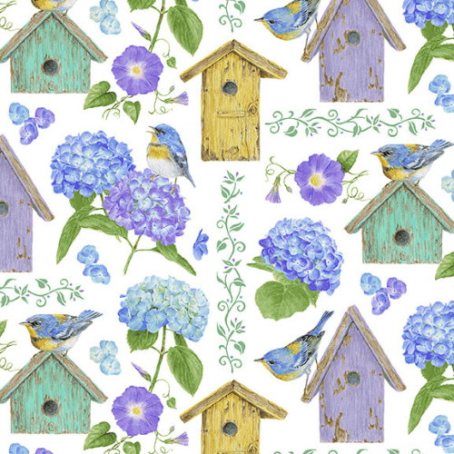 BIRDHOUSES AND HYDRANGEAS ON WHITE FABRIC - 1757-17