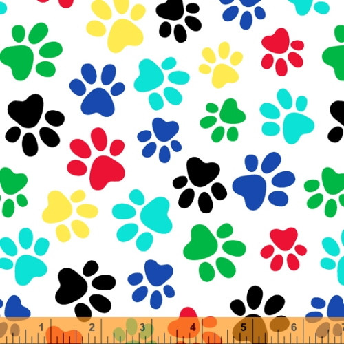"MULTI-COLORED PAW PRINTS ON WHITE 108"" WIDE BACKING - 52476-2"
