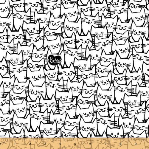 "BLACK OUTLINED PACKED CAT FACES ON WHITE 108"" WIDE BACKING - 51120-1"
