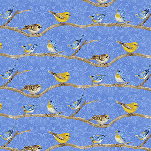 BIRDS ON BRANCHES ON BLUE FABRIC - 1761-77