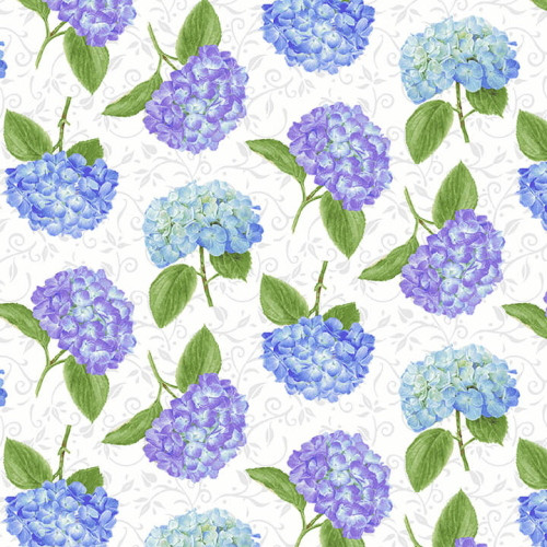 ASSORTED HYDRANGEAS ON WHITE FABRIC - 1760-19