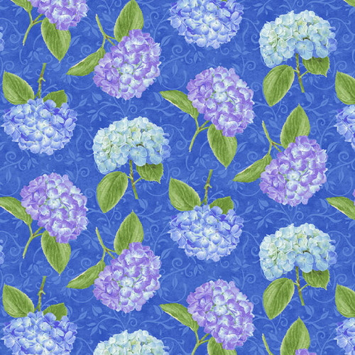 ASSORTED HYDRANGEAS ON BLUE FABRIC - 1760-77