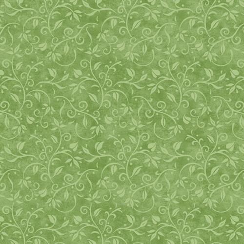 LIGHT GREEN VINES ON GREEN FABRIC - 1763-66