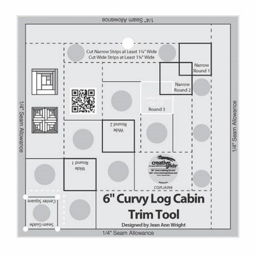 Curvy Log Cabin Trim Tool 6in Finished Blocks Quilt Ruler - CGRJAW6