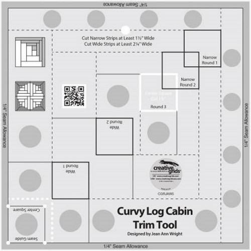 Curvy Log Cabin Trim Tool 8in Finished Blocks Quilt Ruler - CGRJAW5