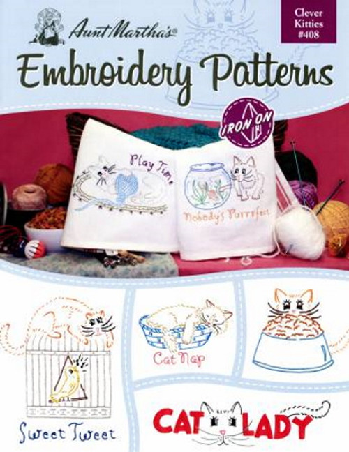Aunt Martha's Embroidery Patterns Book - Clever Kitties #408