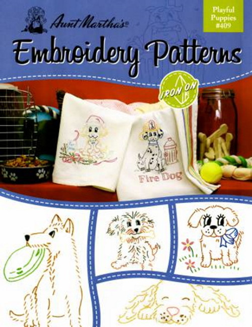 Aunt Martha's Embroidery Patterns Book - Playful Puppies #409