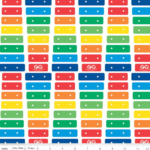 MULTI-COLORED XYLOPHONE ON WHITE FABRIC - C9761 White