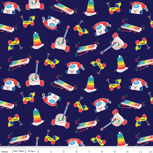 ASSORTED FISHER PRICE TOYS ON NAVY BLUE FABRIC - C9762 Navy