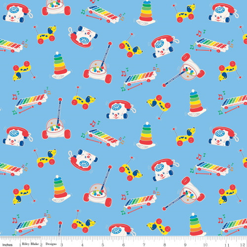 ASSORTED FISHER PRICE TOYS ON LIGHT BLUE FABRIC - C9762 Blue