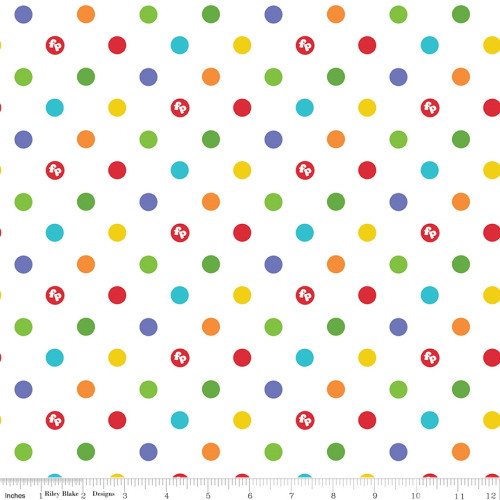 MULTI-COLORED DOTS ON WHITE FABRIC - C9764 White