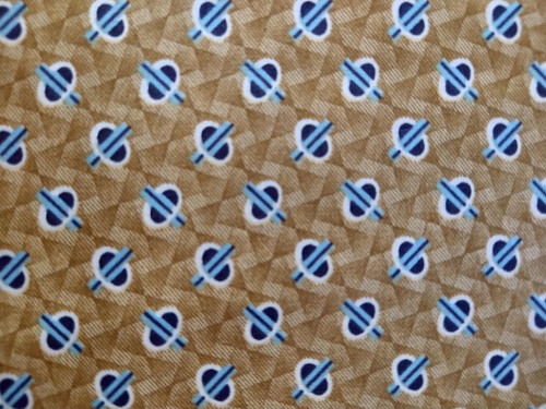 BROWN AND BLUE ORB DESIGN ON GOLDEN BROWN FABRIC - A-9328-LN