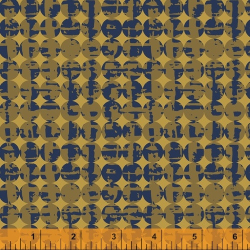 GOLDENROD AND BLUE SMUDGE AND CIRCLE FABRIC - 51575-4