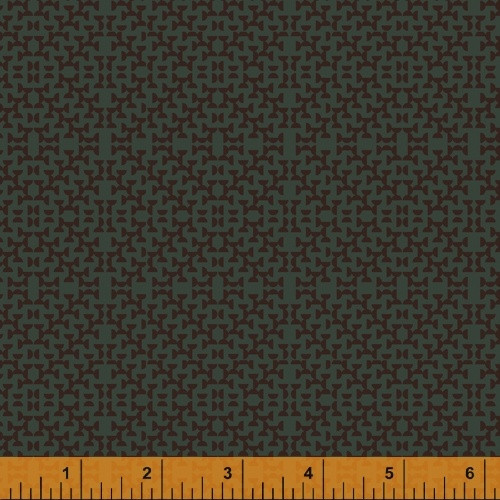 BROWN HALF CIRCLES ON MOSS FABRIC - 51576-5
