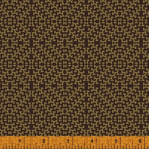 GOLD HALF CIRCLES ON LEATHER BROWN FABRIC - 51576-7