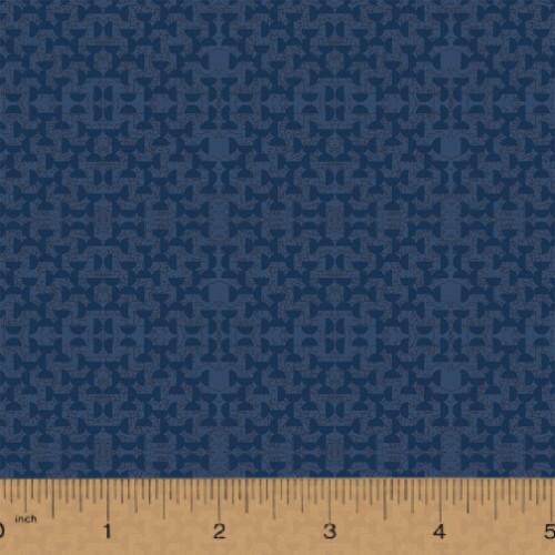 DARK BLUE HALF CIRCLES ON DELPHINE BLUE FABRIC - 51576-9