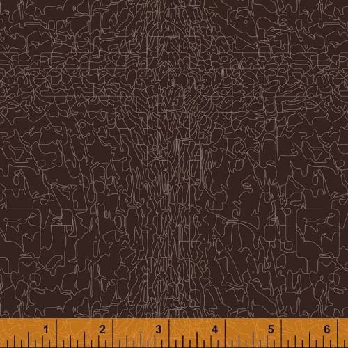 TAN 'PAINT' PATTERN ON LEATHER BROWN FABRIC - 51577-7