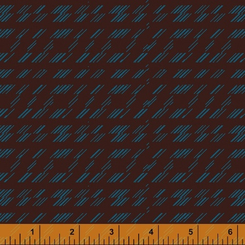 BLUE 'STRIKE' PATTERN ON LEATHER BROWN FABRIC - 51578-7