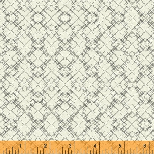 NOBLE GRAY 'LINEWORK' PATTERN ON OFF WHITE FABRIC - 51579-6