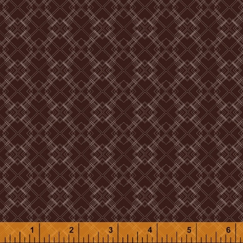 TAN 'LINEWORK' PATTERN ON LEATHER BROWN FABRIC - 51579-7