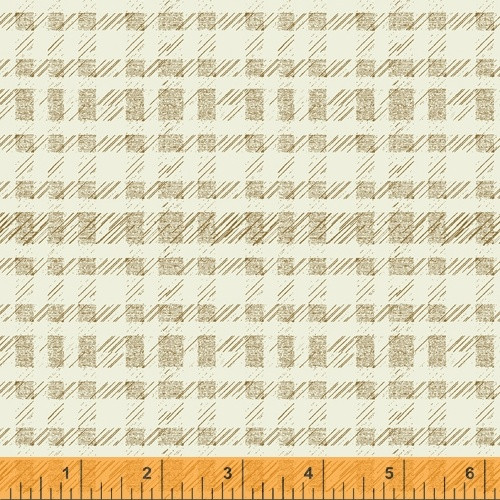 GOLD 'PLAID' PATTERN ON OFF WHITE FABRIC - 51580-6