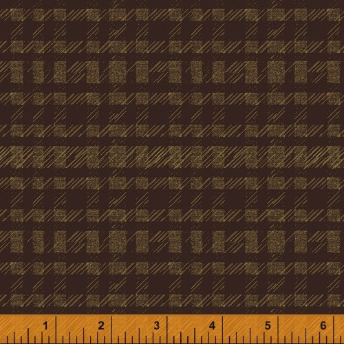 GOLD 'PLAID' PATTERN ONLEATHER BROWN FABRIC - 51580-7