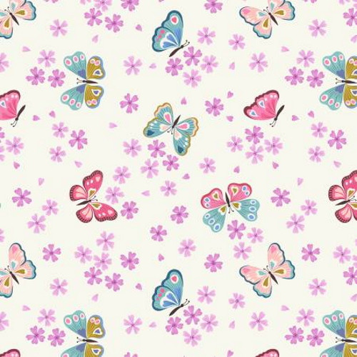 MULTI-COLORED BUTTERFLIES AND PINK FLOWERS ON WHITE FABRIC - A523-1
