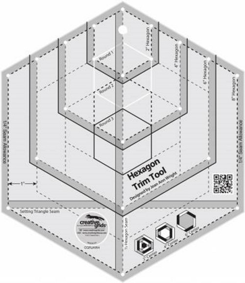 Hexagon Trim Tool Quilt Ruler - CGRJAW4