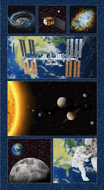 """PLANETARY MISSIONS """"LARGE BLOCKS"""" FABRIC PANEL - APPROX. 24"""" X 44"""" - 5311P-79"""