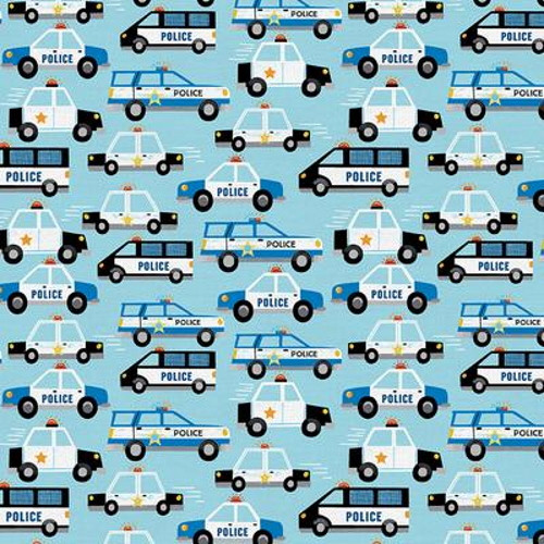 POLICE CARS ON BLUE FABRIC - 120-21924