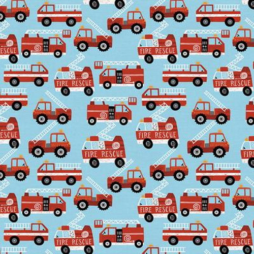 FIRE TRUCKS ON BLUE FABRIC - 120-21923