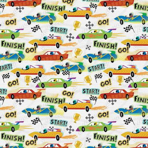 RACE CARS AND WORDS ON WHITE FABRIC - 120-21922