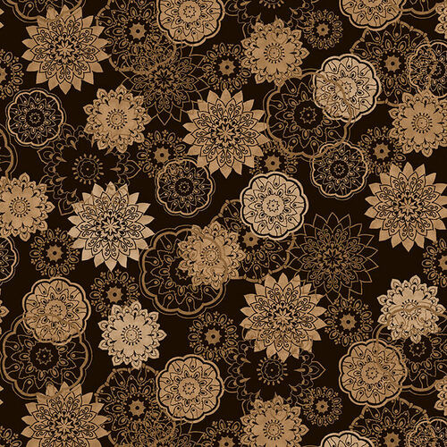 """BROWN KALEIDOSCOPE FLORAL 108"""" 2 PLY FLANNEL WIDE BACKING FABRIC - F5595-33"""