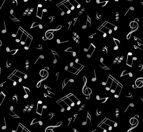 GRAY AND WHITE MUSIC NOTES ON BLACK FABRIC - 148Black