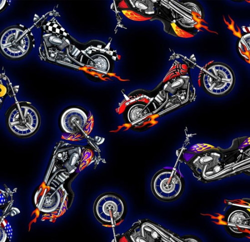 MULTI-COLOR MOTORCYCLES WITH FLAMES ON BLACK FABRIC - 281Black