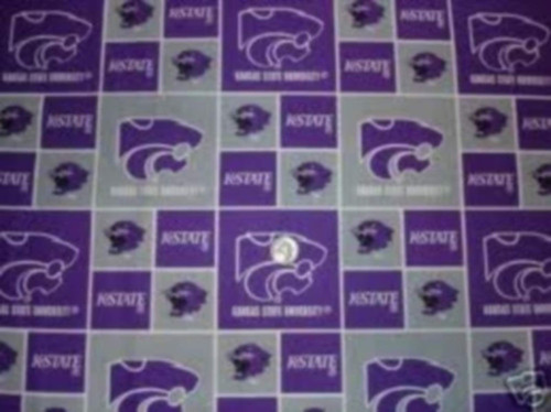 KANSAS STATE UNIVERSITY PURPLE, GRAY & WHITE BLOCK DESIGN FABRIC