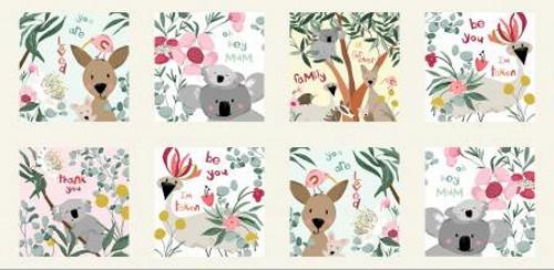 "Kangaroo and Friends 8 Scene Fabric Panel - Approx. 22"" x 44""- AUFR4373-PA"