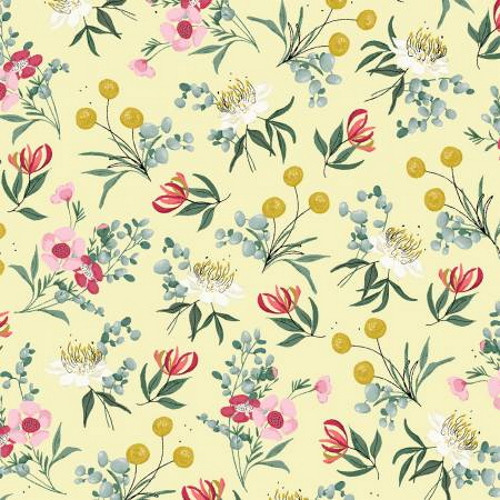 Assorted Flowers on Yellow Fabric - AUFR4372-Y