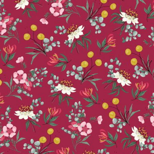 Assorted Flowers on Red Fabric - AUFR4372-R
