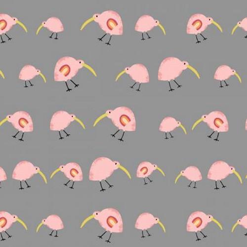 Pink Birds on Gray Fabric - AUFR4376-S