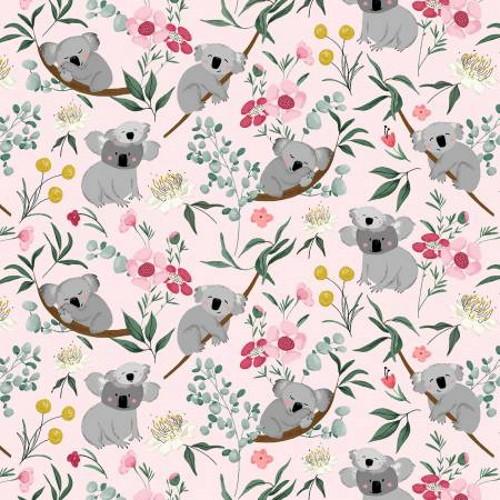 Koala Bears and Flowers on Pink Fabric - AUFR4371-P