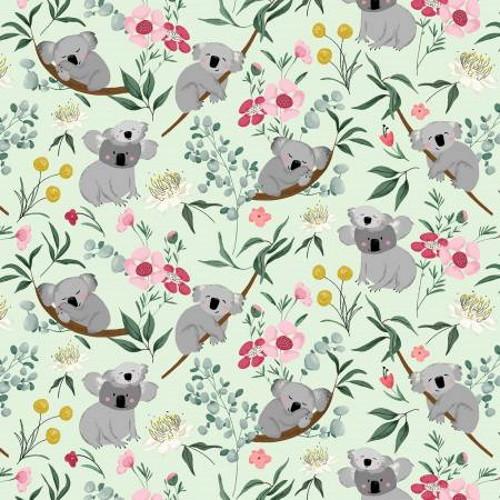 Koala Bears and Flowers on Green Fabric - AUFR4371-G