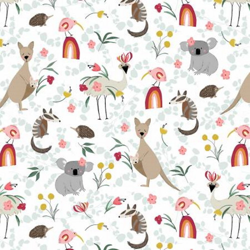 Assorted Kangaroos and other Aussie Friends on White Fabric - AUFR4370-MU