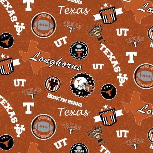 University of Texas Logos, Slogans, ETC. on Dark & Light Orange Fabric - TX-1208