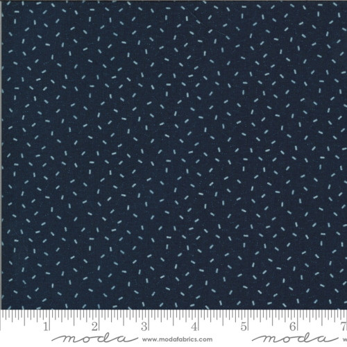 White Rectangles and Tiny Dots on Navy Blue Fabric - 49127-13