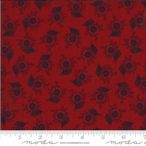 Navy Blue Stars, Wreaths and Flags on Red Fabric - 49125-14