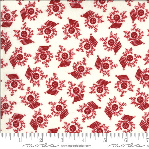 Red Stars, Wreaths and Flags on Cream Fabric - 49125-11