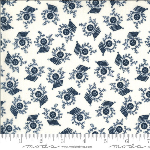 Navy Blue Stars, Wreaths and Flags on Cream Fabric - 49125-12